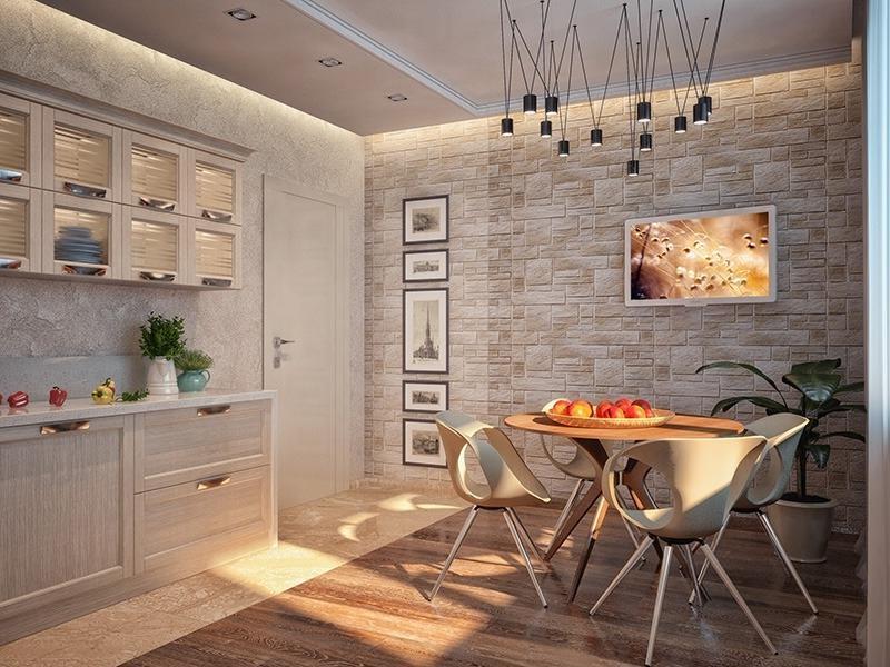 Плитка на стене в интерьере кухни