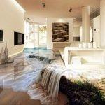 Водопад на полу в гостиной