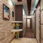 Потолок с голубой подсветкой в прихожей и коридоре