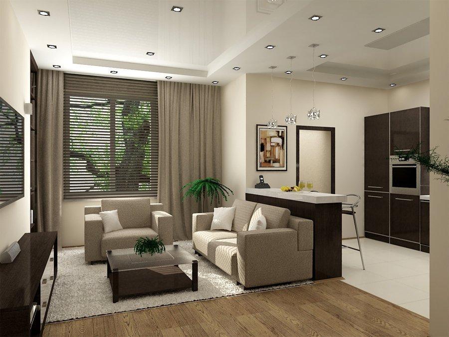 Современный дизайн квартиры-студии с одним окном
