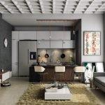 Черно-серый интерьер квартиры-студии