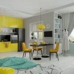 Желтая мебель в сером интерьере