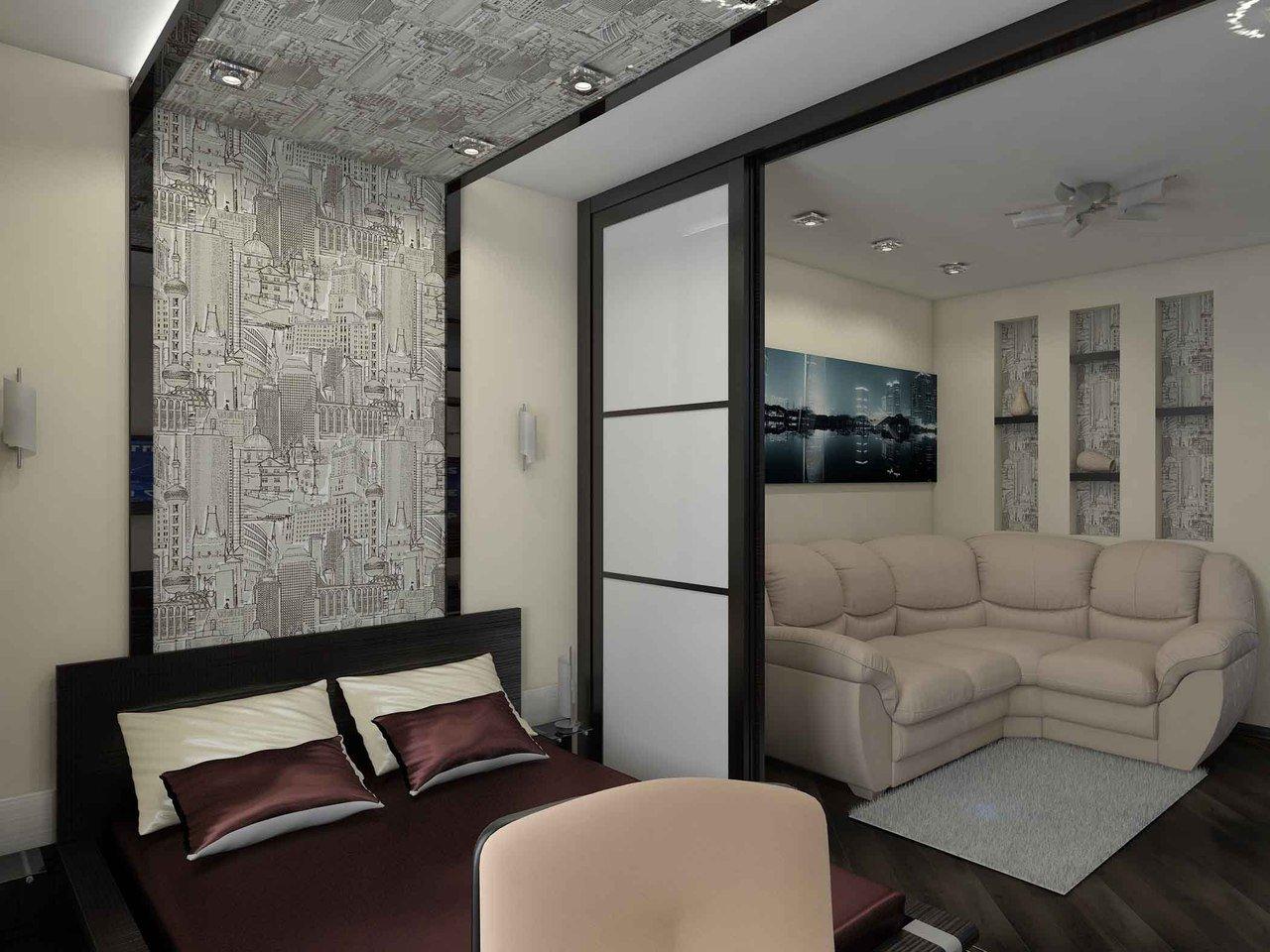 Совмещенная гостиная и спальня с перегородкой фото