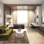 Белый столик на коричневом ковре в гостиной