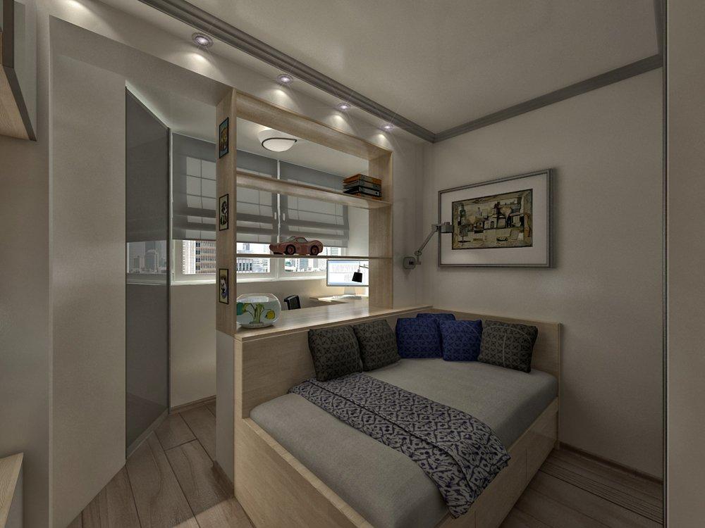 Спальня-гостиная 18 кв м с лоджией