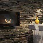 Стена под камень на кухне