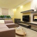 Комбинирование обоев в интерьере гостиной