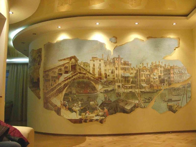 Стена с фреской на жесткой основе