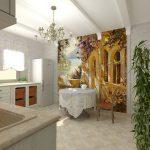 Кухня с фреской в интерьере