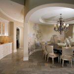 Интересная архитектура кухни и столовой