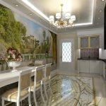 Красивый пол и потолок в интерьере кухни