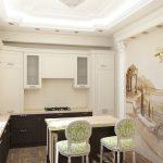 Красивый интерьер кухни с фреской