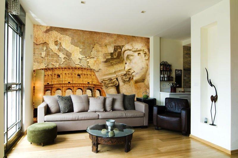 Красивая фреска в интерьере гостиной