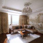 Шикарный интерьер гостиной с фреской
