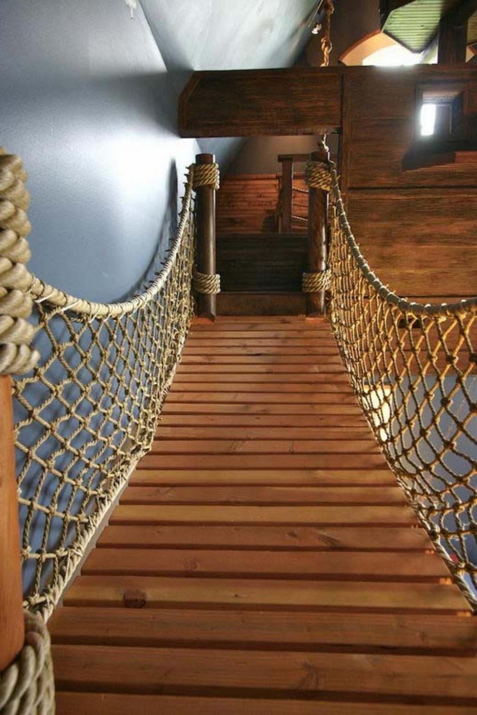 Ограждение лестницы из каната