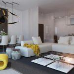 Желтое кресло и белый диван в гостиной