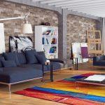 Гостиная с ярким ковром на полу