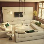 Шоколадно-бежевый дизайн гостиной