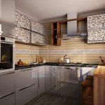 Серебристая мебель и дерево в интерьере кухни