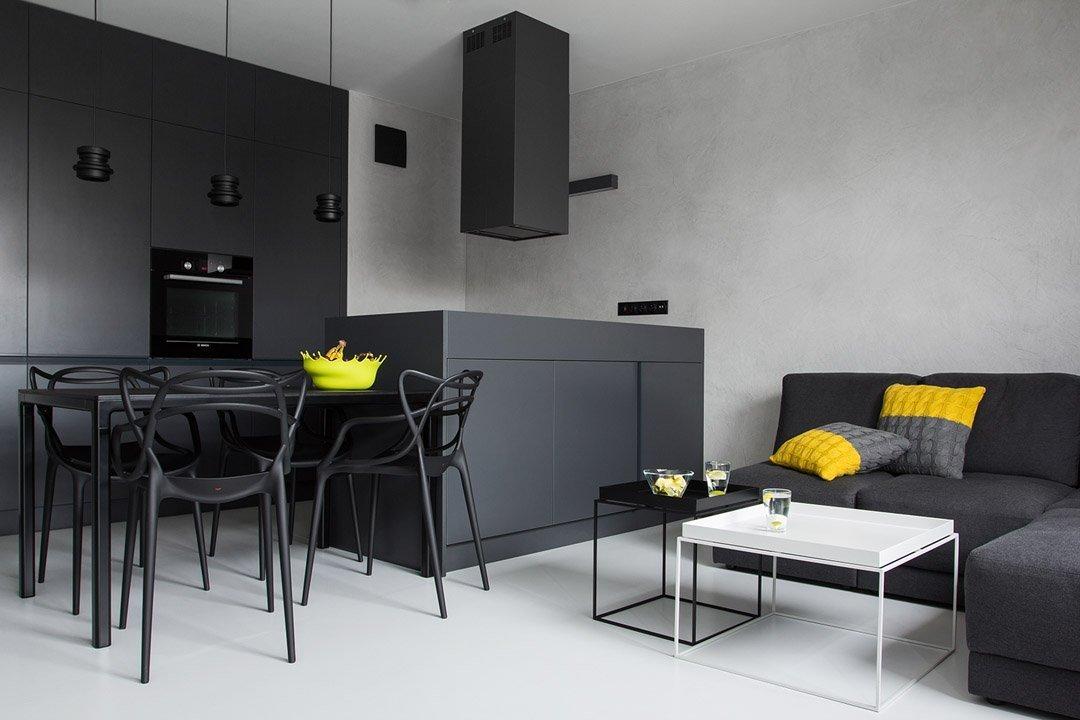 Кухня-гостиная с темной мебелью