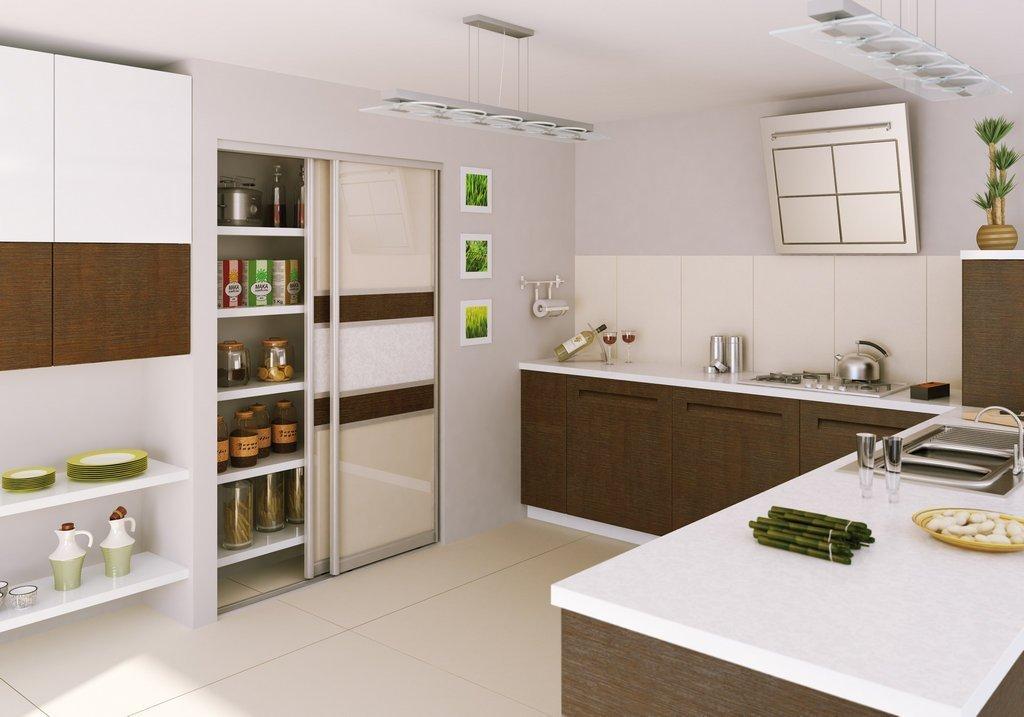 Интерьер кухни со шкафом-купе