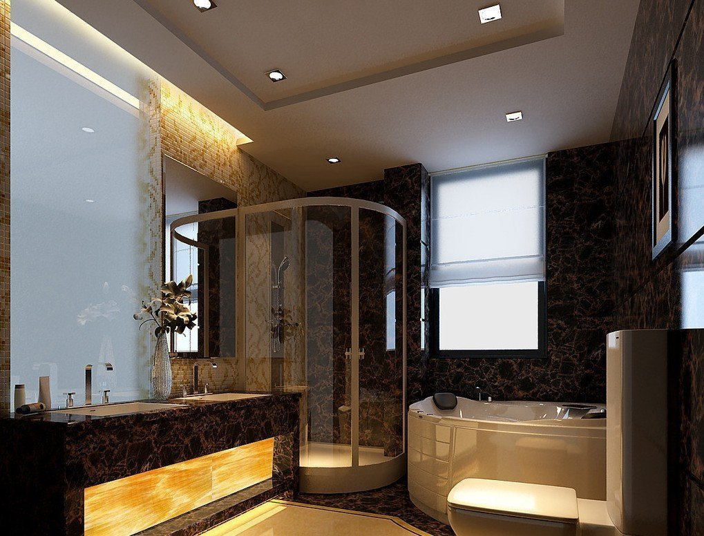 Интерьер ванной с потолком из гипсокартона