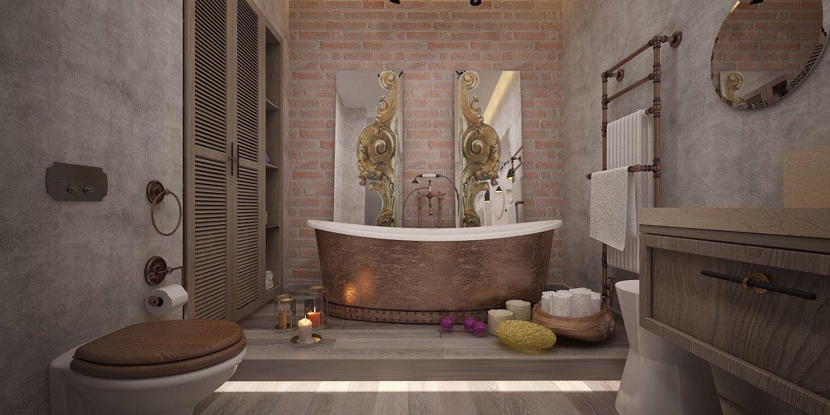 Интерьер ванной с декоративной штукатуркой