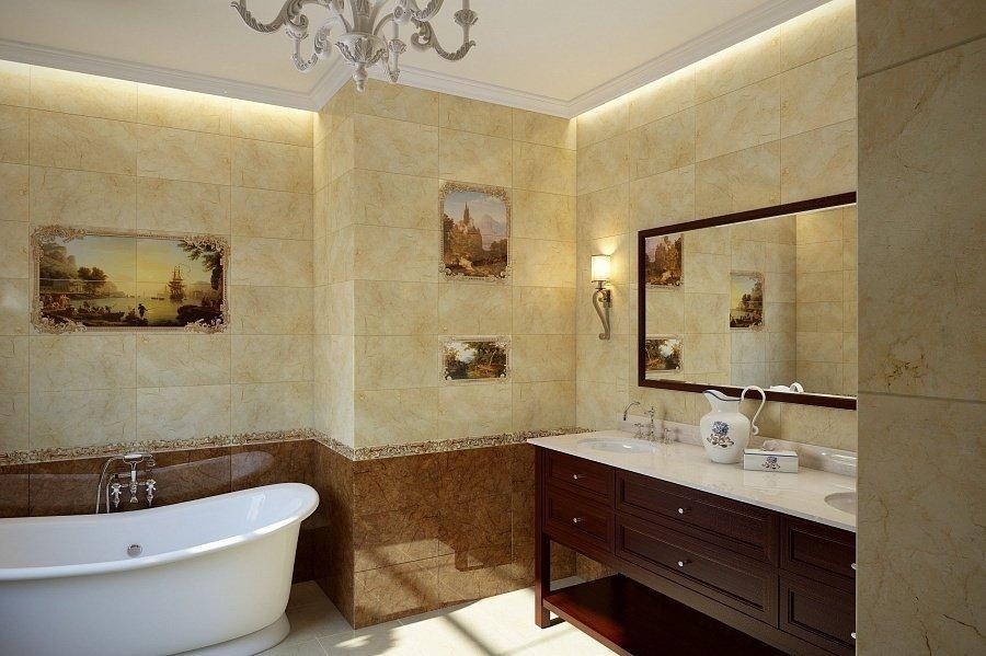 Керамическая плитка на стенах в ванной