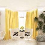 Белая комната с желтыми шторами