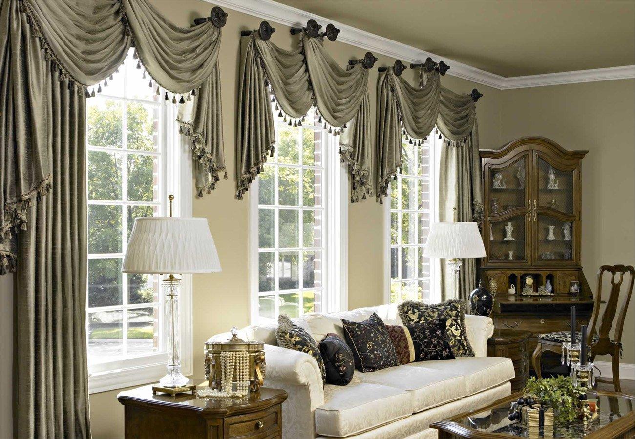 ищете идеи оформления окон шторами в гостиной фото живых