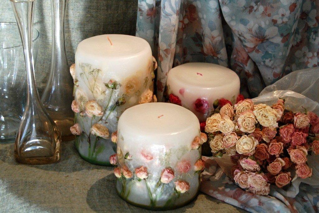 Декор свечей сухоцветами