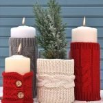Свечи в вязанном декоре