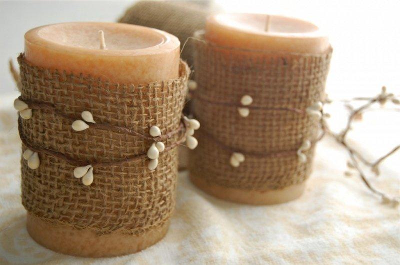 Декор свечей из мешковины
