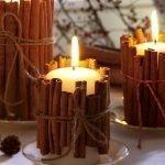 Декор свечей из корицы