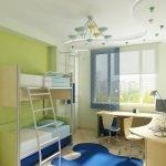 Цветные светильники и люстра на потолке детской
