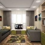 Тумбочка с телевизором между диванами
