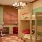 Мебель из светлого дерева в детской