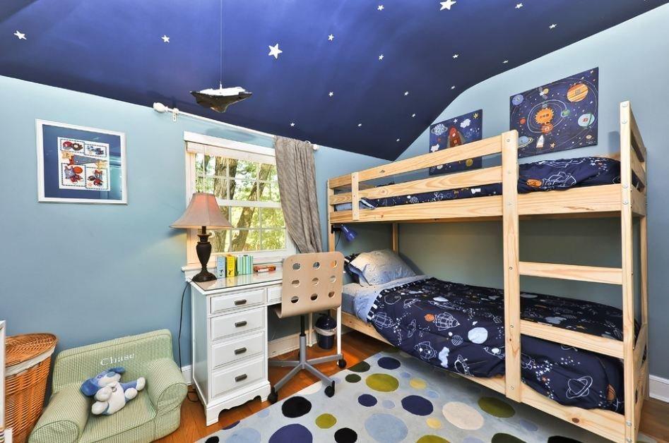 Потолок со звездами в детской для двух мальчиков