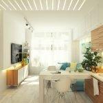 Светлая кухня с большим окном