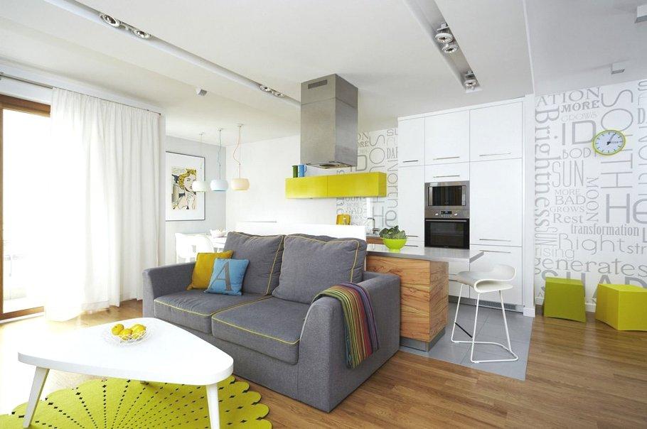 Светлые тона с яркими акцентами в интерьере квартиры