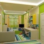 Ярко-зеленые стены в детской