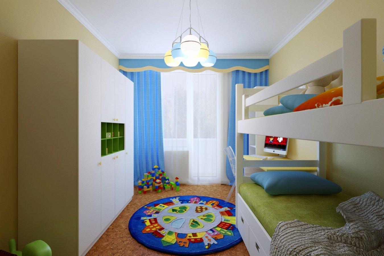 Голубые шторы в комнате для мальчика