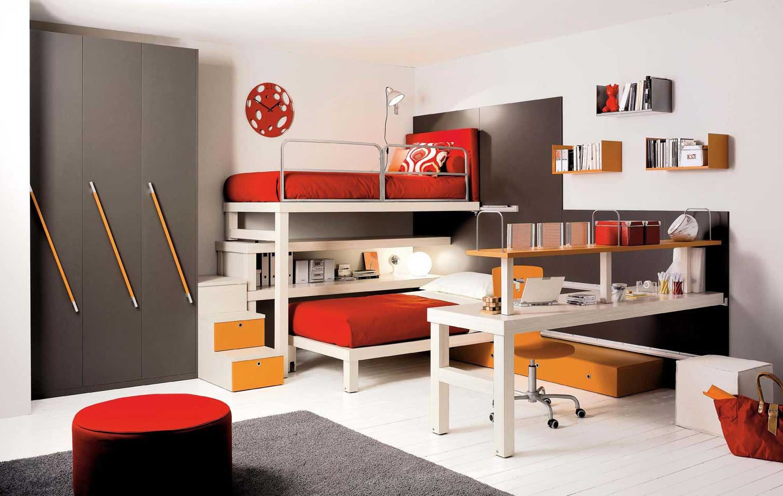 Красно-белый декор детской комнаты
