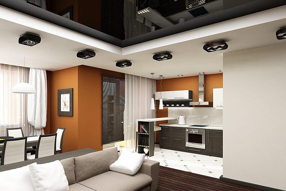 Дизайн потолка гостиной в квартире-студии
