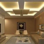 Многоуровневый потолок с подсветкой в интерьере