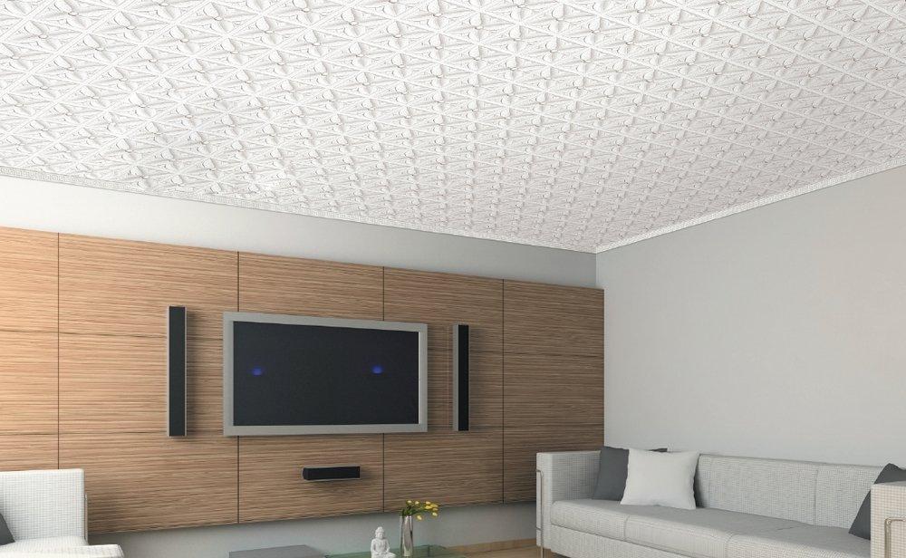 Плиты из пенополистирола на потолке в интерьере