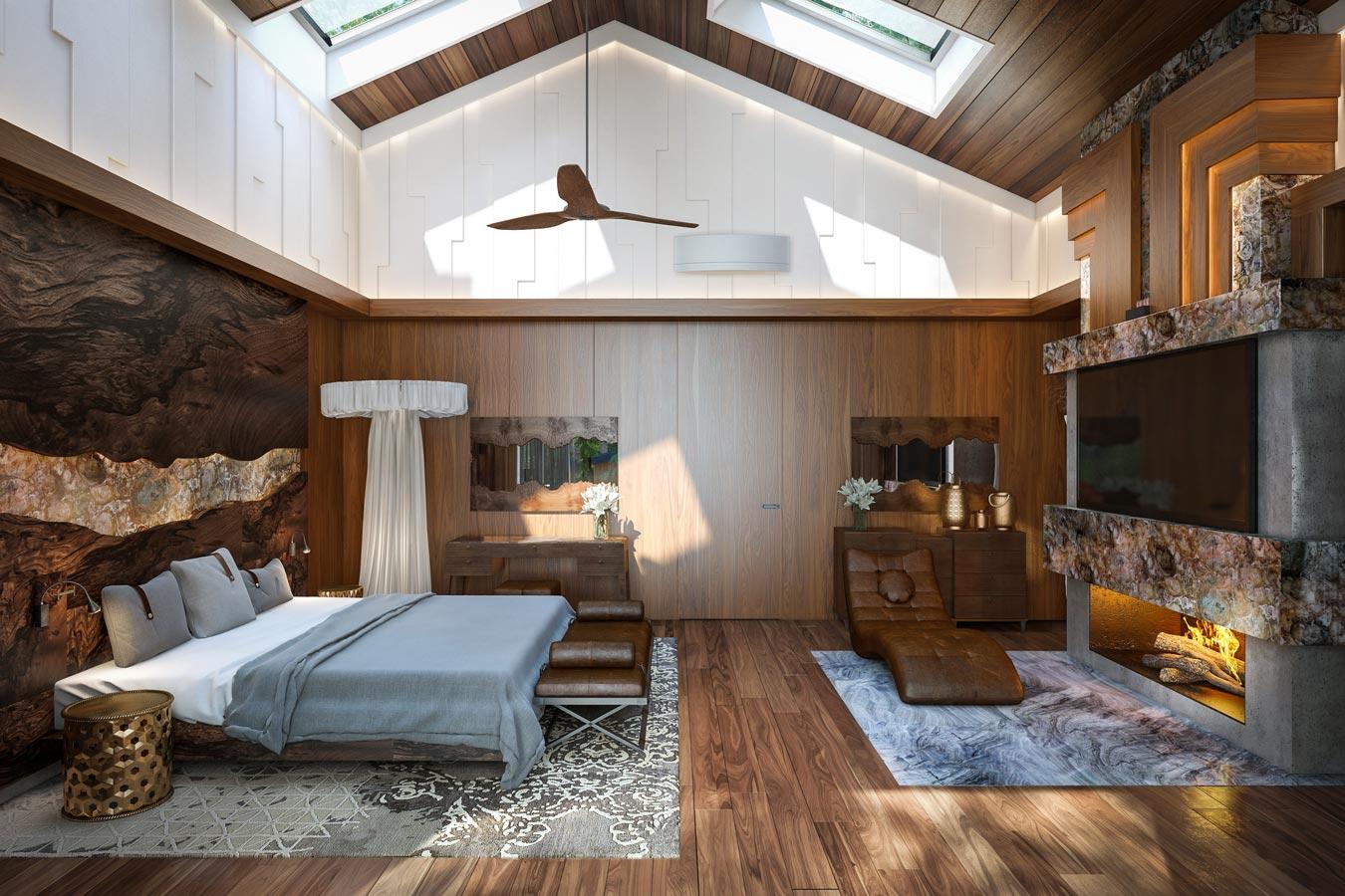 Просторная спальня на мансарде