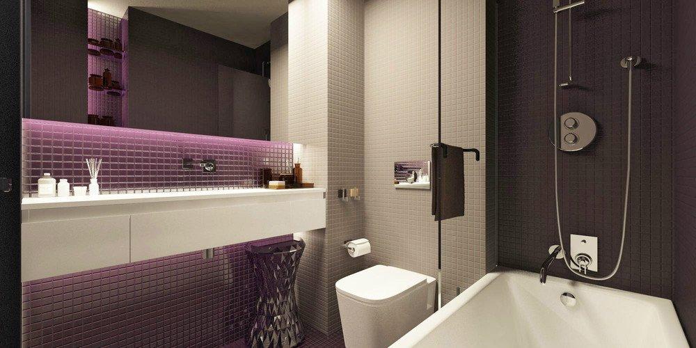 Фиолетовая плитка в ванной
