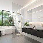 Черно-белый дизайн ванной комнаты