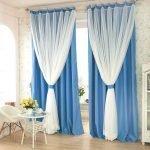 Бело-синие шторы в пол